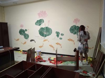 索幸福师傅:鱼戏荷塘客厅背景墙